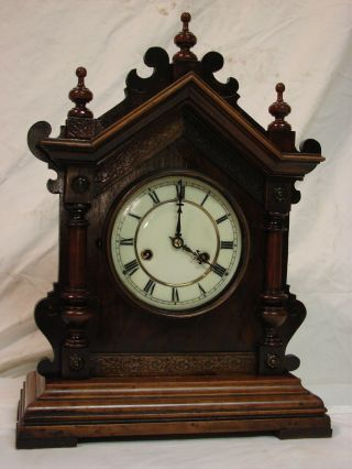 Antique German Hamburg Amerikanische Parlor Clock 1ms photo