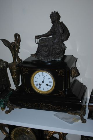 Antique French Marble/slate Clock Runs,  Spelter Clock Topper photo