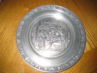 Zinn Becker Pewter Collectable Plate Bethlehem Scene photo