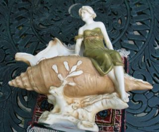Royal Dux Art Nouveau Figure On A Shell photo
