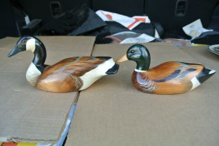 2 Vintage Carved Wood Wooden Canada Goose & Mallard Figurines Decoys Excl photo