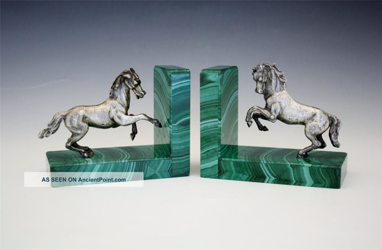 Vintage C1950 Italian Figural 800 Silver Horse & Malachite Bookends Other photo