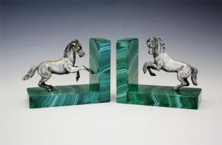 Vintage C1950 Italian Figural 800 Silver Horse & Malachite Bookends photo