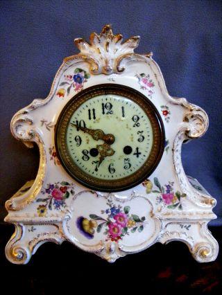 Antique Porcelain Mantel Clock French France photo