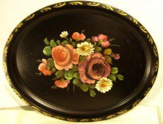 Vintage Black Floral Toleware Tray Oval 17 1/2