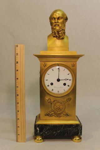 Antique French Empire Gold Gilt Bronze Ormolu Clock Socrates Sculpture Statue photo