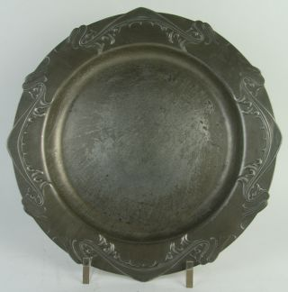 Splendid Signed Typical Art Nouveau Pewter Floral Plate Or Charger C1900 photo