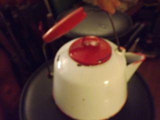 Antique Cabin Style Porcelain Enamel Metal 2 Qt Teapot Kettle Rare And Unusual photo