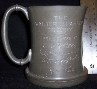 Vintage Pewter Trophy Mug Engraved With 6 Different Winners Names And Dates photo