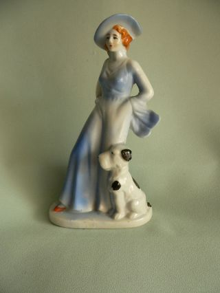 Art Deco Girl With Dog Figurine - Blue Tones - Large Hat And Dog 6 - 1/2