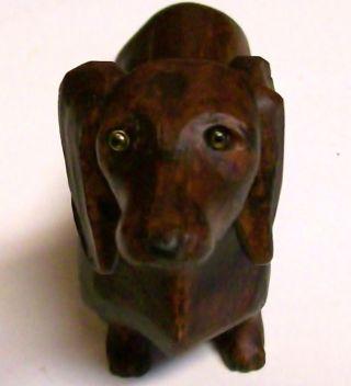 Vtg.  Dachshund Weiner Dackel Dog Wood Carved Black Forest German Figure Figurine photo