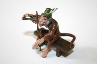 Antique Vienna Austrian Cold Painted Bronze Monkey Playing Violin photo