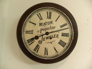 Antique English Advertising Fine Gallery Wall Clock Circa 1910 Clean And Runs photo