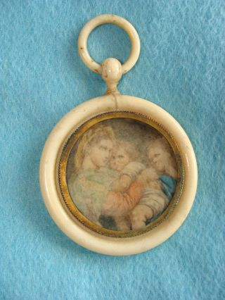 Antique Faux Ivory Frame With Painting On Faux Ivory~mother & Babies~as Found photo