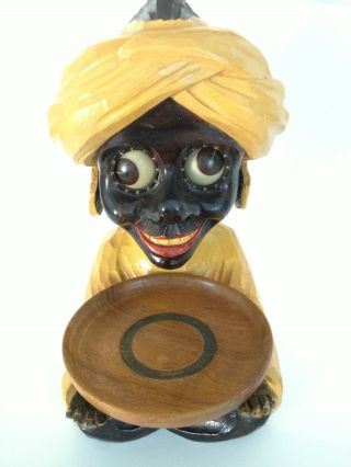 Rare Vintage J Oswald Rolling Eye Clock - The Sheik/swami With Rare Tray photo