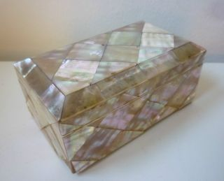 English Mother - Of - Pearl Wood Box With Ox - Bone,  Silk - Lined,  19th Cent. ,  4 3/8in. photo