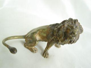 Antique Austria Vienna Cold Painted Bronze Lion Figure photo