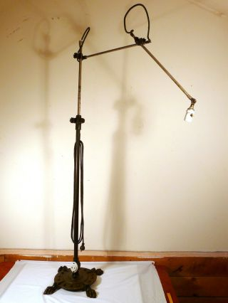Rare 19th C 1882 Oc White Floor Lamp With Cast Iron Lions Paw Base photo