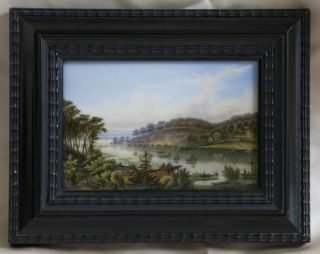 Exceptional Rare Kpm Berlin Porcelain Plaque In Ebony Walnut Frame Pristine photo