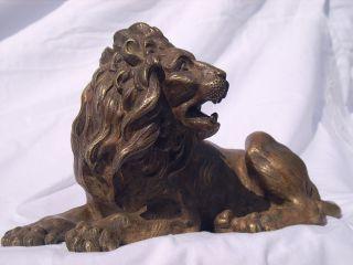 Magnificent French Gilt Bronze Lion Circa 1860 photo