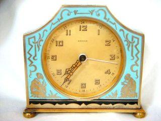 Antique/vtg Art Deco Kienzle Germany Aqua Enamel/brass Alarm Clock Fix Or Parts photo