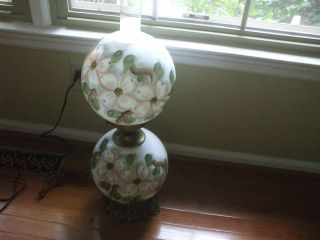 Antique Hand Painted Gone With The Wind Lamp Converted Lights Top & Bottom Works photo
