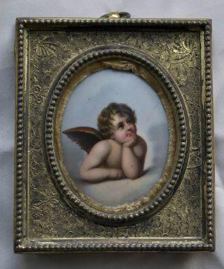 Raphael's Cherubim Putti Angel Sistene Madonna Painting On Porcelain Kpm Meissen photo