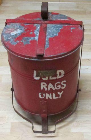 Vintage Industrial Justrite Mfg.  Of Chicago Oily Rag Galvanized Can Wastebasket photo
