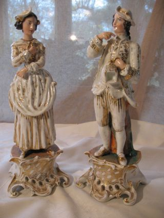 Pair Of Old Paris Porcelain Figurines photo