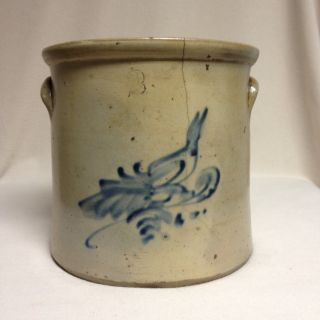 Antique Stoneware: 2gal.  Crock W/ Cobalt Bird,  Att.  Brady & Ryan (ny),  Ca.  1890 photo