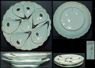 "2 Oyster Plates 8⅜"" French Porcelain Adrian Dalpayrat 1876 - 1905 photo"