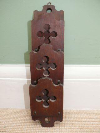 19thc Gothic Oak Carved Rack With Quatrafoil Decor photo