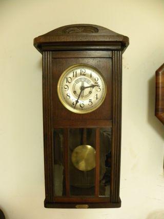 Antique German Behrens Fine Wall Clock Circa 1910 Clean And Running Fine photo