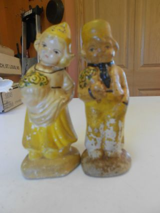 Antique Salt Pepper Shaker Dutch Boy Girl Darling Rare photo