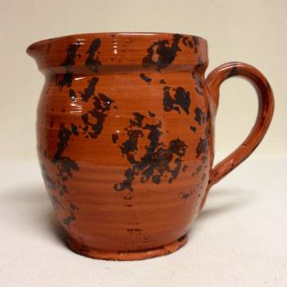 Stoneware Pitcher: Redware & Manganese,  Signed Js (j.  Seagraves?),  Mint photo