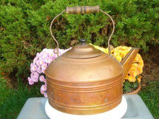 Antique Rever Large Copper Tea Water Kettle Cookware Pot Wood Handle 6