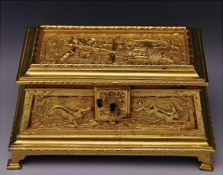 Excellent19thc Victorian Figural Hunt Scenic Bronze Desk Table Box Jewelry Chest photo