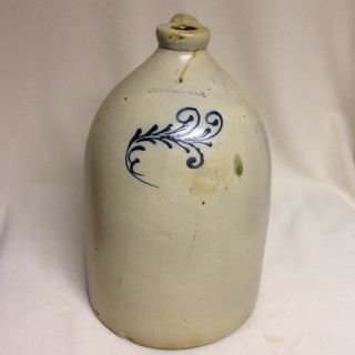 Antique Stoneware: Edmands & Co.  3gal.  Beehive W/ Cobalt Fern,  Ca.  1860 Ex photo