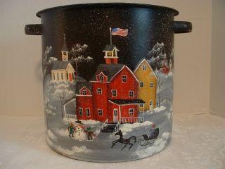 Antique Metal Kitchen Bucket,  Pot,  Hand Painted Christmas Santa,  Winter Scene photo