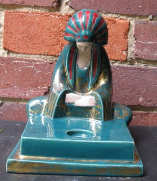 Rare Art Deco,  Signed,  Robj,  Paris,  France,  Large Egyptian Figural Male Inkwell photo