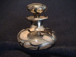 ~tiffany~art Nouveau~sterling Silver Glass Overlay~vintage Perfume Bottle~$1.  00~ photo
