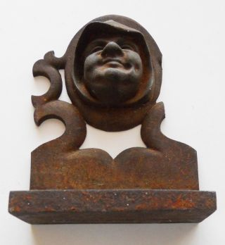 Antique Cast Iron Door Stop Of A Friar photo