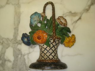 Doorstop Painted Flower Bouquet Wicker Basket Antique Cast Iron Probably Hubley photo