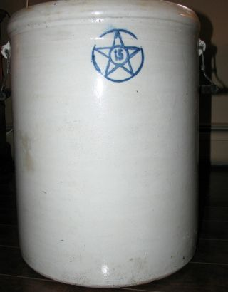 Antique 15 Gallon Blue Star Salt Glazed Stoneware Crock With Handles photo