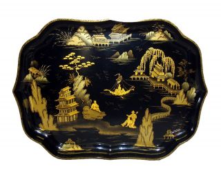 Chinoiserie Decorated Papier Mache Tray,  C.  1840 - 50,  Custom Stand Also Available photo