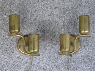 Vintage Art Deco Pair Of Sconce Brass Shape 1935 Josef Frank photo
