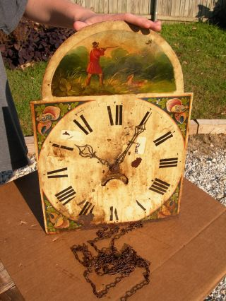Antique Grandfather Clock Face,  Clockworks~hand Painted Hunter Shooting Bird photo