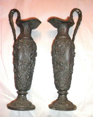 Pair Of Very Ornate Victorian Cast Metal Ewers 13