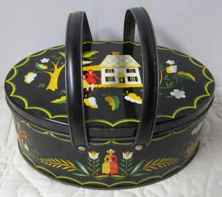 Vintage Tole - Ware Tin Sewing Lunch Picnic Tin Basket Swing Arms Folk Art Dutch photo