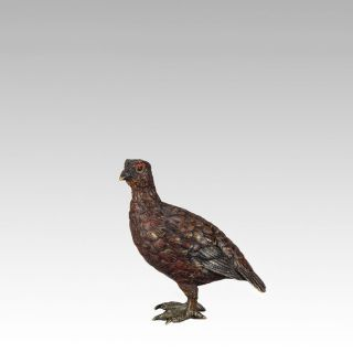 Antique Vienna Bronze Study Of A Red Grouse By Franz Bergman photo